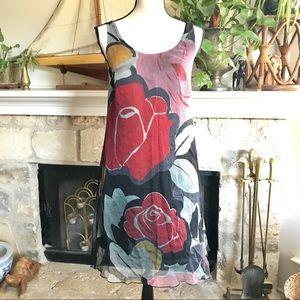 Vintage Anthropologie Seja silk rose dress